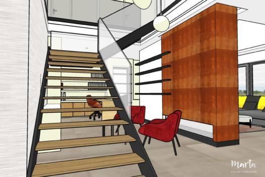 10. Escaliers en métal et bois, très épurés et grande cheminée - les forts accents de ce salon.