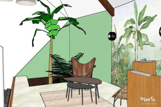 Visuel 3D, le deuxième salon dans style Jungle, par Marta Atelier d'Ambiances, Architecte d'intérieur à Mulhouse, Alsace
