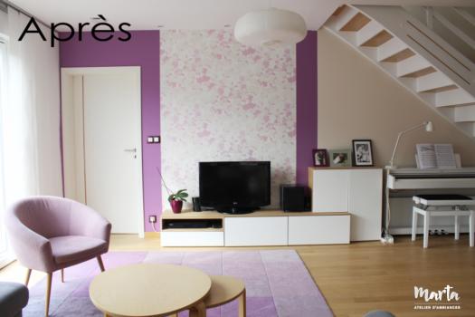 Salon scandinave violet avec les lignes simples et matières douces, par Marta Atelier d'Ambiances, Architecte d'intérieur à Mulhouse, Alsace