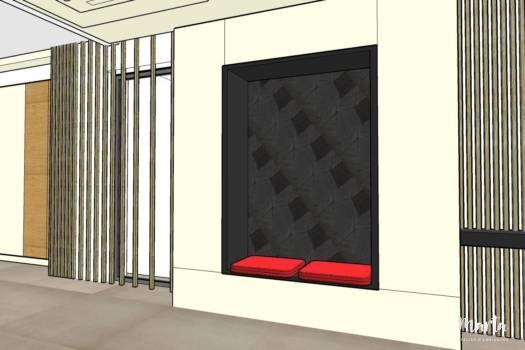 11. Couloir avec tasseaux en bois et meuble de rangement - les éléments principaux de l'entrée.