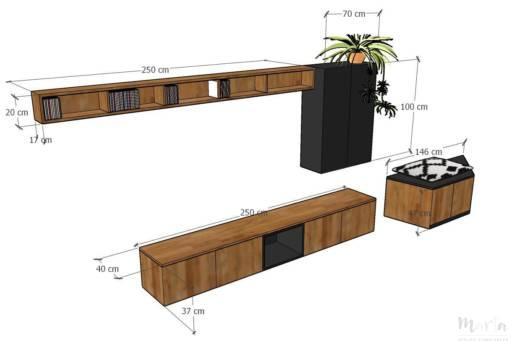 Projet meubles TV sur mesure, par Marta Atelier d'Ambiances, Architecte d'intérieur à Mulhouse, Alsace