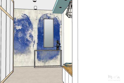 17. Panoramique sur le mur de couloir