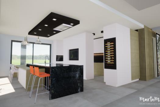 Cuisine et salle à manger moderne noire et blanc, par Marta Atelier d'Ambiances, Architecte d'intérieur à Mulhouse, Alsace