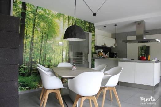 Salle à manger et cuisine contemporaine, par Marta Atelier d'Ambiances, Architecte d'intérieur à Mulhouse, Alsace