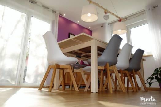 Salle à manger style scandinave avec éclairage naturel, fabriqué par Marta Atelier par Marta Atelier d'Ambiances, Architecte d'intérieur à Mulhouse, Alsace