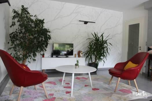 Papier peint panoramique blanc avec fil conducteur la nature, par Marta Atelier d'Ambiances, Architecte d'intérieur à Mulhouse, Alsace