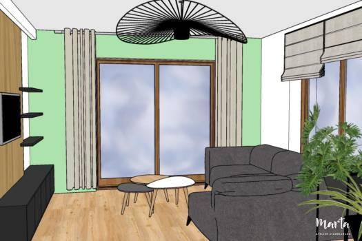 6. Salon avec le meuble sur-mesure