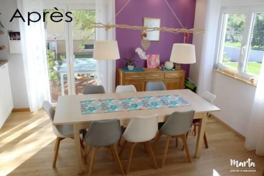 Vue d'ensemble sur la salle à manger dans un style scandinave, par Marta Atelier d'Ambiances, Architecte d'intérieur à Mulhouse, Alsace