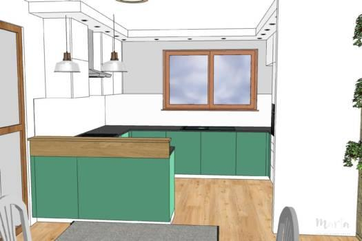 7. Cuisine vert bleuté et blanc avec touche de bois
