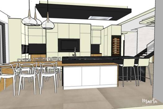 7. Grande cuisine contemporaine en blanc, noir et bois.