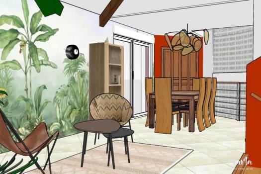 7. Visuel 3D, vue sur le deuxième salon et salle à manger