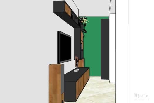 8. Visuel 3D du couloir avec nouveaux meubles, créés sur-mesure.
