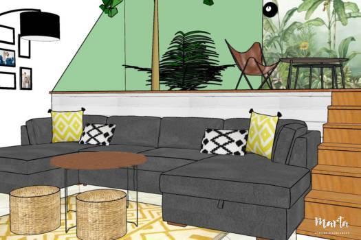 Visuel 3D, le premier salon style jungle, par Marta Atelier d'Ambiances, Architecte d'intérieur à Mulhouse, Alsace
