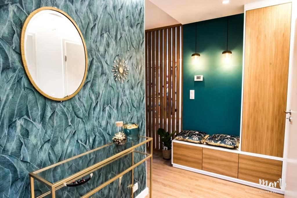 Entrée style chic et jungle,par Marta Atelier d'Ambiances, Architecte d'intérieur à Mulhouse, Alsace