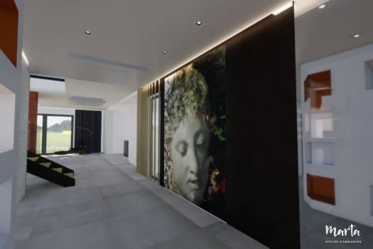 Couloir d'entrée style contemporain, par Marta Atelier d'Ambiances, Architecte d'intérieur à Mulhouse, Alsace