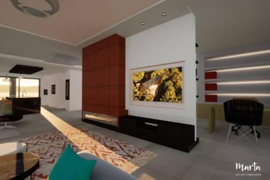Mur TV du salon moderne,par Marta Atelier d'Ambiances, Architecte d'intérieur à Mulhouse, Alsace