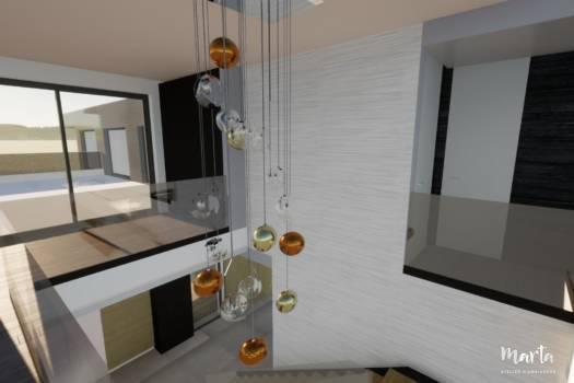 Cage d'escaliers avec luminaires , style moderne, par Marta Atelier d'Ambiances, Architecte d'intérieur à Mulhouse, Alsace