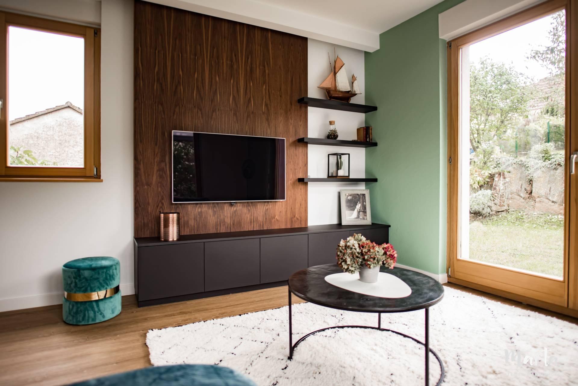 Meuble TV sur-mesure, par Marta Atelier d'Ambiances, Architecte d'intérieur à Mulhouse, Alsace