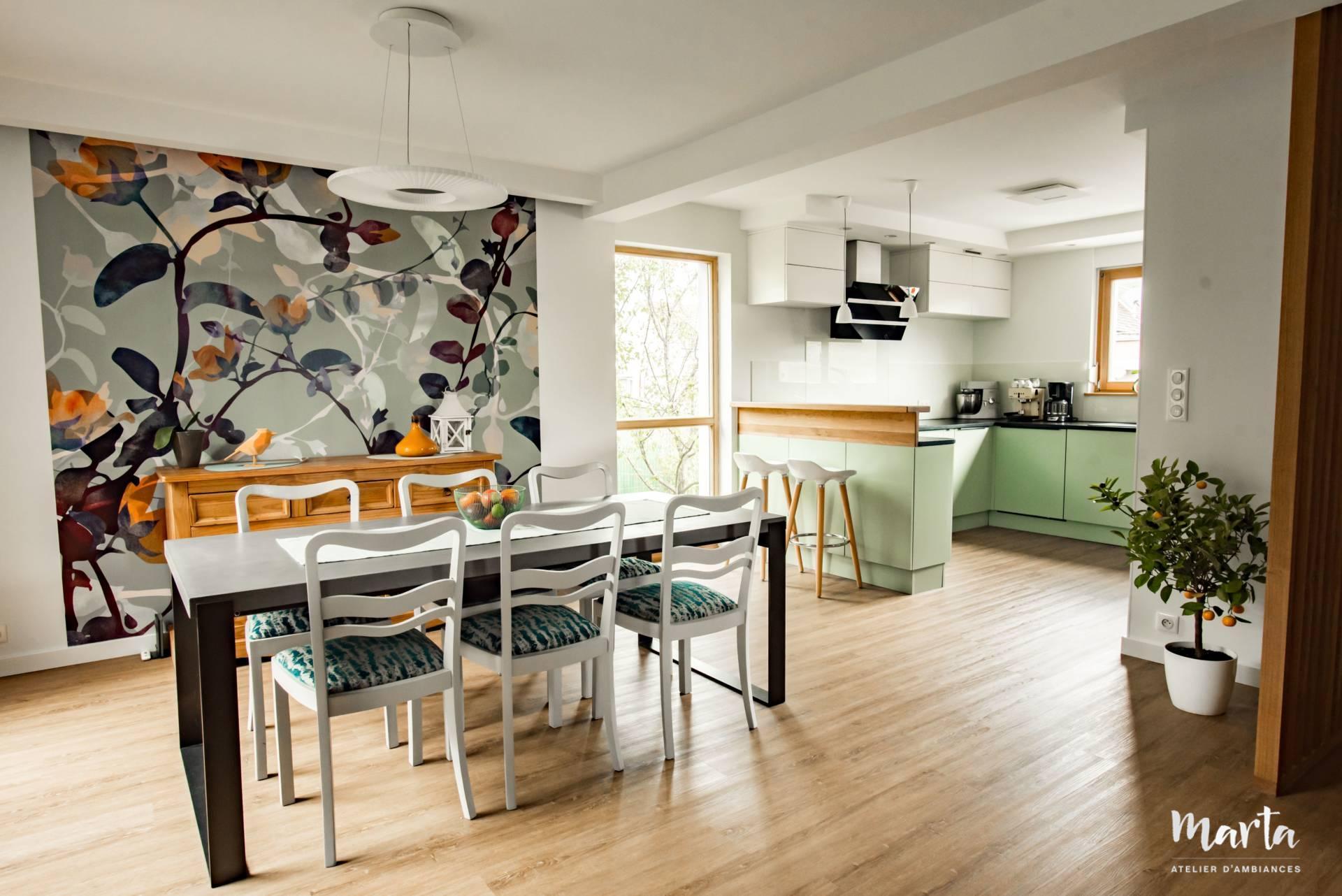 Salle à manger style nature, par Marta Atelier d'Ambiances, Architecte d'intérieur à Mulhouse, Alsace