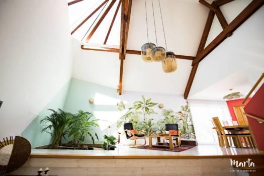 Vue sur le salon jungle ,par Marta Atelier d'Ambiances, Architecte d'intérieur à Mulhouse, Alsace