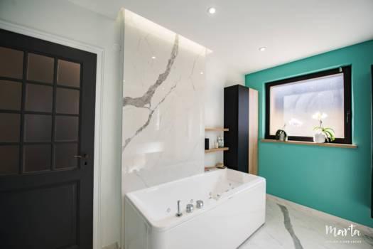 Ambiance balnéaire de salle de bain, par Marta Atelier d'Ambiances, Architecte d'intérieur à Mulhouse, Alsace