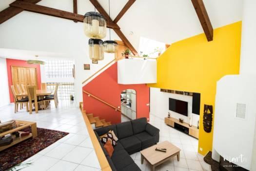 Salle de séjour sur deux niveaux ,par Marta Atelier d'Ambiances, Architecte d'intérieur à Mulhouse, Alsace