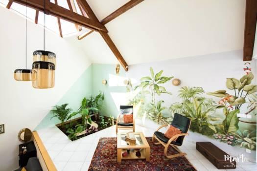 Papier peint dans le style jungle ,par Marta Atelier d'Ambiances, Architecte d'intérieur à Mulhouse, Alsace
