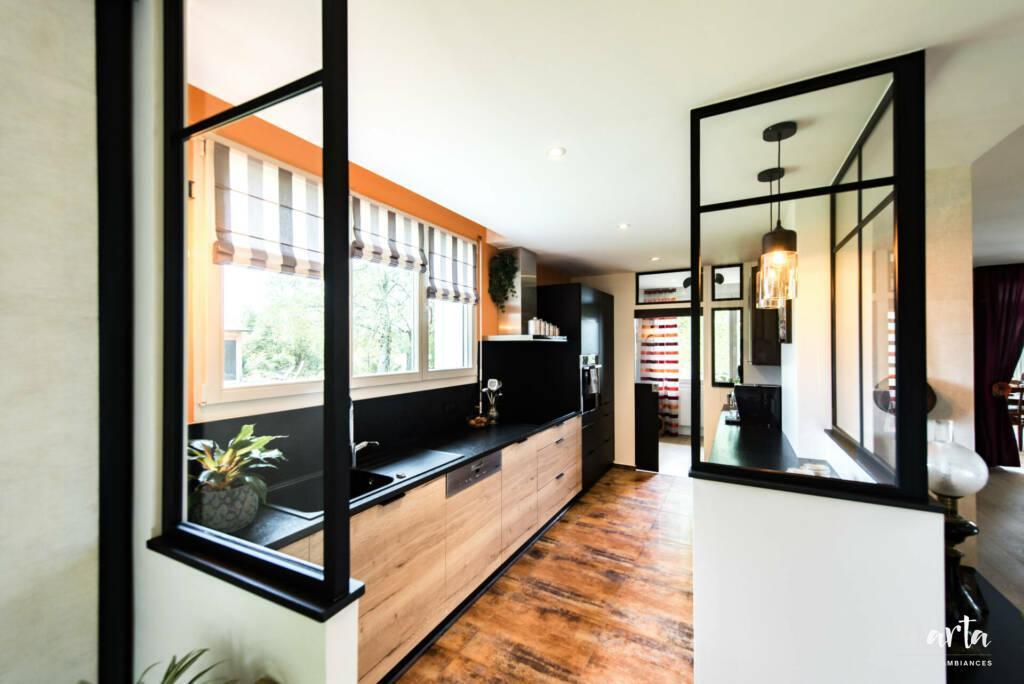 Verrière de la cuisine, par Marta Atelier d'Ambiances, Architecte d'intérieur à Mulhouse, Alsace